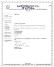 Kashruth Certificate